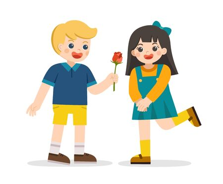 An enamored boy is giving a rose to girl. Little boy in love giving cute girl. Couple propose with flower. Couple on romantic date.