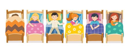 Set of Children character lying in different postures during night slumber. Boys and girls sleeping in bed in various poses. Bedtime and rest. vector illustration.