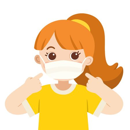 A cute girl wear medical mask. Hygiene mask. Virus protection.
