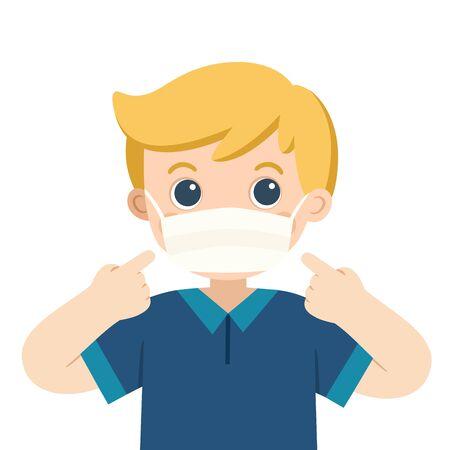 A cute boy wear medical mask. Hygiene mask. Virus protection.