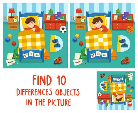Adorable little Boy sleeping in the bed,  good night and sweet dreams. Find 10 differences objects in the picture. Educational game for children. Illustration