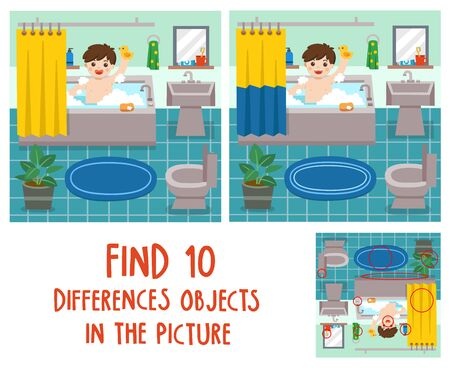 Adorable little boy taking a bath in bathtub with lot of soap lather and rubber duck. Find 10 differences objects in the picture. Educational game for children.