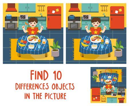 Adorable niño desayunar en la cocina. Encuentra 10 objetos de diferencias en la imagen. Juego educativo para niños.