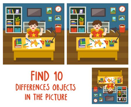 Adorable little Boy drawing the picture in living room. Find 10 differences objects in the picture. Educational game for children.