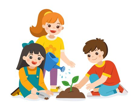 Children planted and watering young trees from watering can. Save The Earth. Vector illustration. Illustration