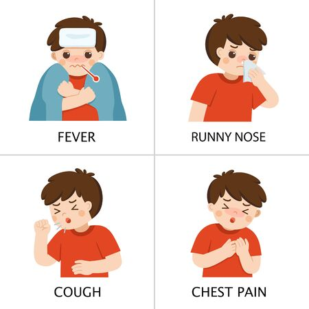 A boy get sick. He has high temperature. Boy is coughing and suffering from chest pain. Coronavirus 2019-ncov flu.Health and Medical. Vector illustration. Illustration