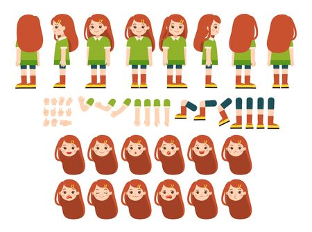Mascot creation kit of little girl for different poses . Vector constructor with various views, emotions, poses and gestures. Schoolgirl character creation set. Banque d'images - 139797964