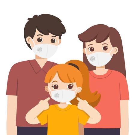 Parent and child wearing medical mask. Hygiene mask. Virus protection. Vector illustration. Illustration
