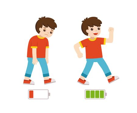 Active and tired boys flat cartoon colorful vector illustration. Happy and unhappy boy. Energetic and tired or exhausted boy and life energy.