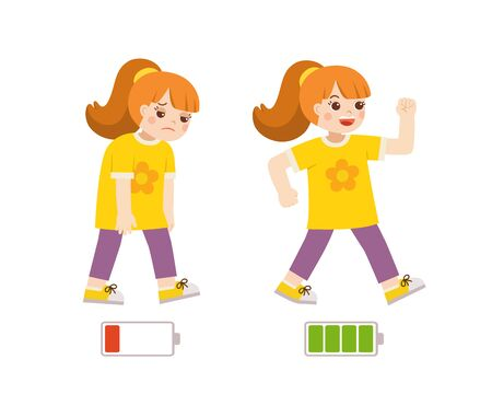 Active and tired girl flat cartoon colorful vector illustration. Happy and unhappy girl. Energetic and tired or exhausted girl and life energy.