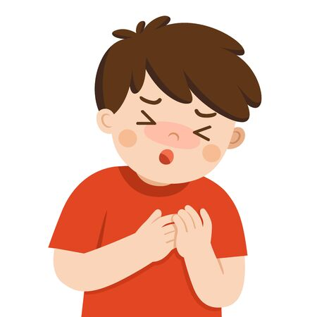 Sick cute boy with suffering from chest pain on white background. Flu symptoms. Health problem
