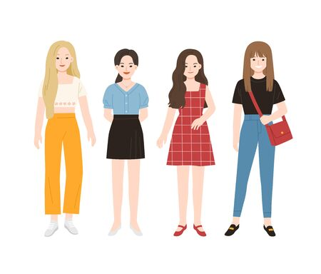 Group of young people flat cartoon characters isolated on white background. Happy teenager in casual clothes. Ilustracja
