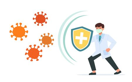Healthy Doctor reflect bacteria attack with shield. Doctor holds shield covering from virus and bacteria. Health bacteria virus protection. Boost Immunity with medicine concept illustration. Ilustracja