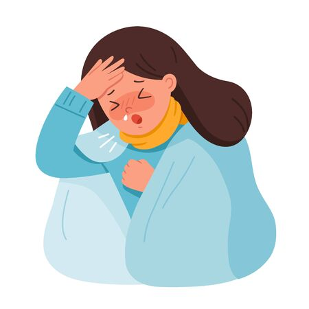 Portrait of woman get sick. She is coughing and suffering from chest pain. Coronavirus 2019-ncov flu.Health and Medical. Vector illustration.