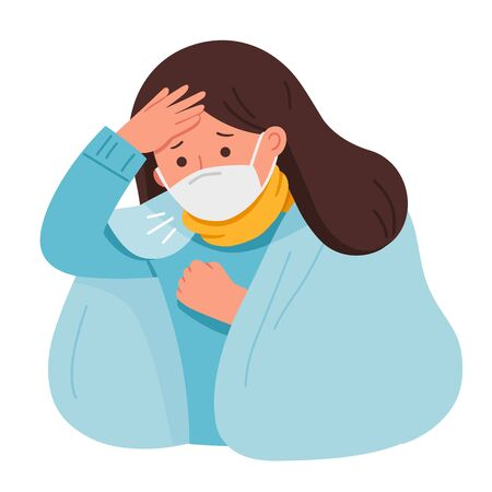 Portrait of woman wear medical mask.She is coughing and suffering from chest pain. Virus protection. Coronavirus 2019-ncov flu.Health and Medical. Vector illustration. Ilustracja