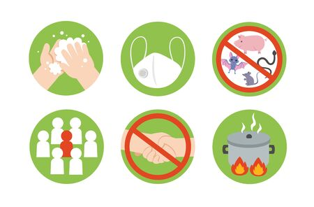 Icon of Coronavirus (COVID-19) preventions. corona virus outbreak. wash hands, wear face mask, eat hot foods and avoid going risk places. Health and Medical. Vector illustration. Ilustracja