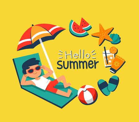 Summer Time. A boy sunbathing on a beach chair with tropical beach elements. Hello Summer vector banner design.