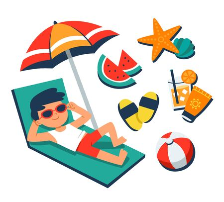 Summer Time. A boy sunbathing on a beach chair with tropical beach elements. Summer vector.
