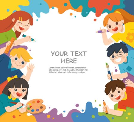 Back to School. Cute children have fun and ready to get painting together. Template for advertising brochure. Children look up with interest. Art kids. Ilustracja