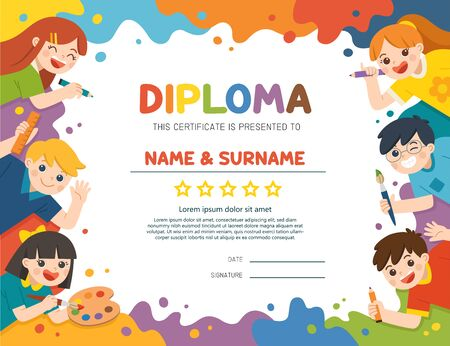 Illustration Of Certificate kids diploma, Cute children have fun and ready to get painting together. Template for advertising brochure. Children look up with interest. Art kids. Ilustracja