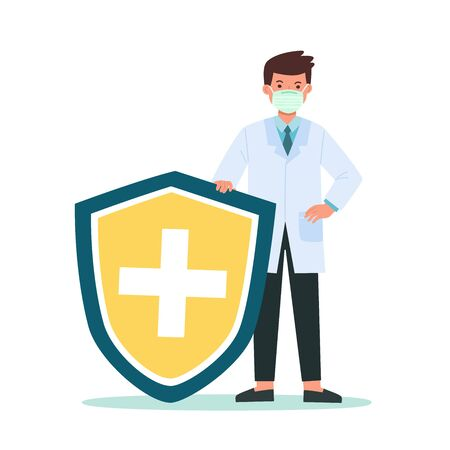 Doctor holds shield covering from virus and bacteria. Health bacteria virus protection. Healthy Doctor reflect bacteria attack with shield. Boost Immunity with medicine concept illustration.