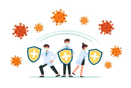 Doctors holds shield covering from virus and bacteria. Health bacteria virus protection. Healthy Doctors reflect bacteria attack with shield. Boost Immunity with medicine concept illustration. Ilustracja