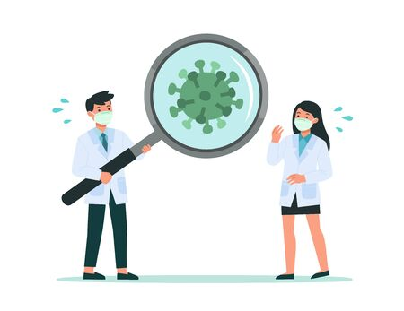 Healthy Doctor looking through magnifying glass scanning covid-19 corona virus. They had discovered covid-19 corona virus. Vector illustration Ilustracja