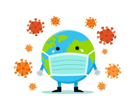 The Earth in a medical mask protects itself from virus and bacteria. Health bacteria virus protection. World environment day concept.