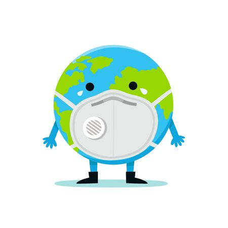 The Earth in a face mask to prevent disease, flu, air pollution, contaminated air, world pollution, PM10, PM2.5. World environment day concept.