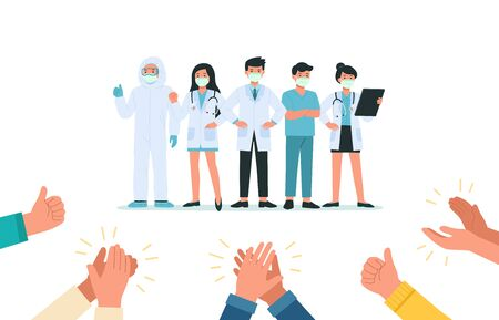 Human hands clapping for Brave doctors and nurses wearing face mask fight Against Covid-19, Coronavirus Disease. They are heroes. Health Care and Safety. Health bacteria virus protection.