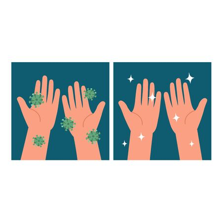 Healthcare educational infographic of hands dirty and hands clean. Wash Your Hands. Personal hygiene. Ilustracja