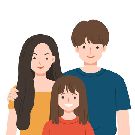 Happy Family staying together. Happy Family with Dad, mom and daughter together. Vector illustration in cartoon style