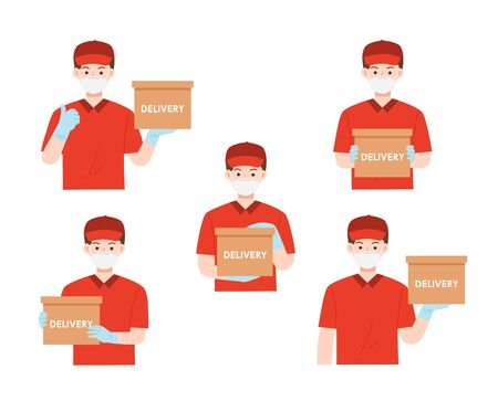 Set Portrait of happy man from delivery service in red t-shirt and cap giving food order. Delivery of goods during the prevention of coronovirus, Covid-19. Delivery service concept. Ilustracja