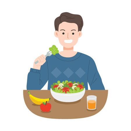 Young men eating salads. Diet food for life. Healthy foods with benefits. Healthy and vegan food concept. Ilustracja