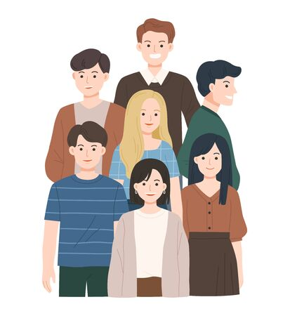 Group of young people flat cartoon characters isolated on white background. Happy Friends staying together. Happy teenager in casual clothes.