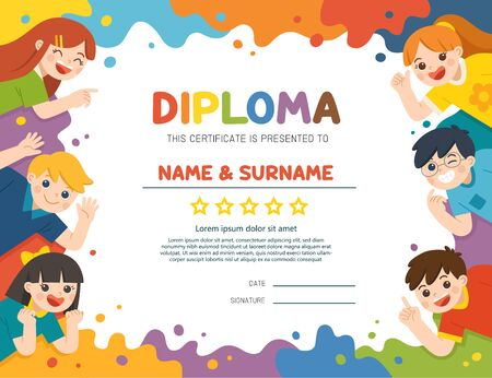 Back to School. Happy children having fun together. Children look up with interest. Art kids. Template for Certificate kids diploma