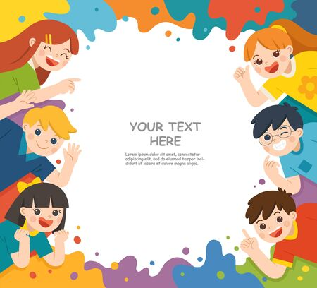 Back to School. Happy children having fun together. Children look up with interest. Art kids. Template for advertising brochure. Ilustracja