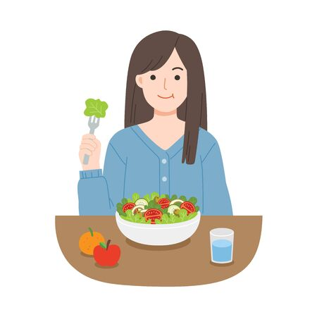 Young women eating salads. Diet food for life. Healthy foods with benefits. Healthy and vegan food concept.