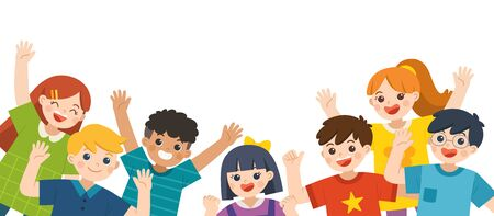 Group of Multicultural happy kids joyfully jumping and waving hands on white background. Cheerful elementary school students. Template for advertising brochure.