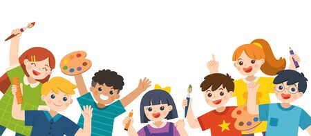 Group of Multicultural happy kids have fun and ready to get painting together. Cheerful elementary school students. Template for advertising brochure.