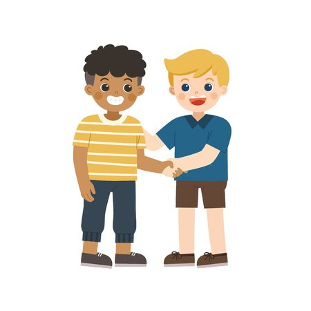 Happy boys standing and shaking hands making peace. Happy multiracial kids best friends. Happy boys catching each other's hand. School friendship.