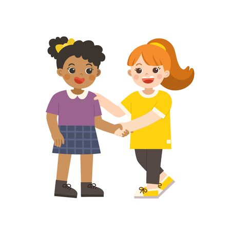 Happy girls standing and shaking hands making peace. Happy multiracial kids best friends. Happy girls catching each other's hand. School friendship.