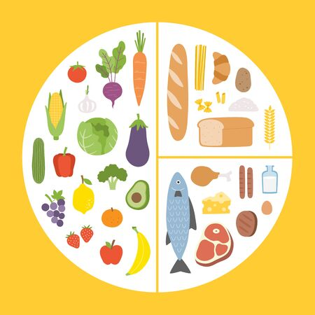 Healthy eating tips. Infographic chart of food balance with proper nutrition proportions. Plan your meal. Healthy balanced food and dieting concept.