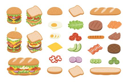 Set of ingredients for burger and sandwich on white background. Fast food Burger. Junk food concept. Ilustracja