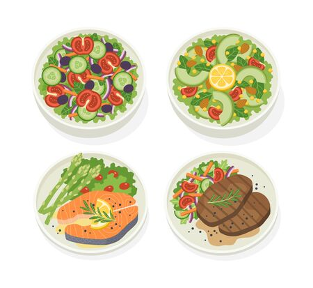 Set of various plates of food with fresh vegetable salad, beef steak, salmon steak. Let's eat something delicious tasty food. Icons for menu logos and labels.