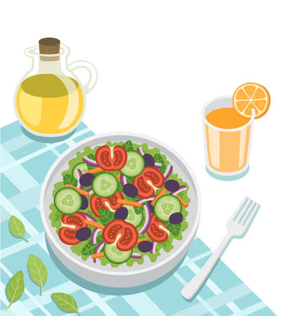 Healthy fresh vegetable salad of cucumber, tomato, spinach, lettuce, onion with orange juice. Concept for a tasty and healthy meal. Top view. Ilustracja