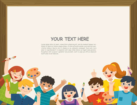 Group of Multicultural happy kids have fun and ready to get painting together. Cheerful elementary school students. Template for advertising brochure. Ilustração