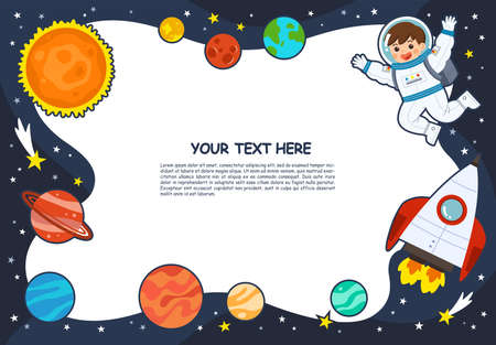 Astronaut in cosmos with spaceship stars and planets, spaceman in galaxy. Space scenes. Science Education concept. Template for advertising brochure.