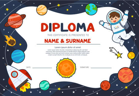 Astronaut in cosmos with spaceship stars and planets. Education preschool concept. Certificate kids diploma, kindergarten template layout space background.Template for Certificate kids diploma.