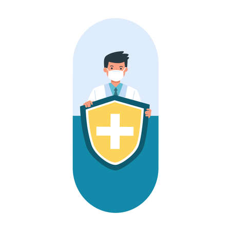 Doctor holds shield covering in medical pills. Health bacteria virus protection. Boost Immunity with medicine concept illustration.